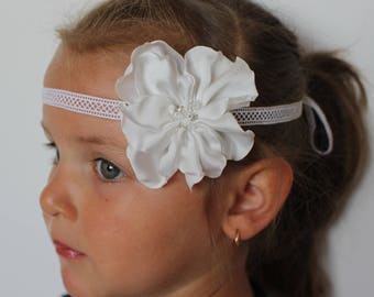 White flower headband,White bow headband,wedding Headband,christening baptism headband,baby headband,newborn headband,flower girl headband