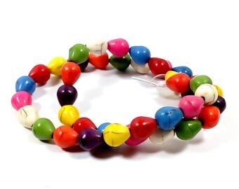 40 perles howlite gouttes multicolores 9.5 mm