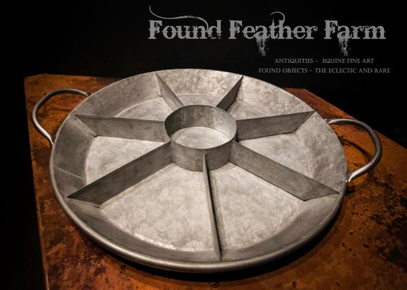 Vintage Galvanized Divided Round Tray with Handles