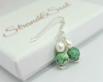 African Turquoise & Fresh Water Pearl Earrings On Sterling Silver - Gift For Her - Gift For Mom