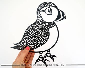Puffin paper cut svg / dxf / eps / files and pdf / png printable templates for hand cutting. Digital download. Commercial use ok