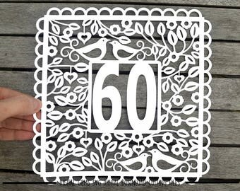 Number 60 paper cut svg / dxf / eps / files and pdf / png printable templates for hand cutting. Digital download. Small commercial use ok.