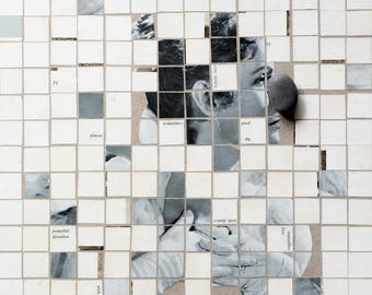 Collage no. 4 - Photo print - mixed media collage of woman cut into pieces - vintage materials used.