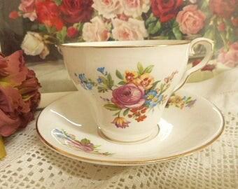 Taylor & Kent Cup and Saucer - Bone China England - Floral Rose Design