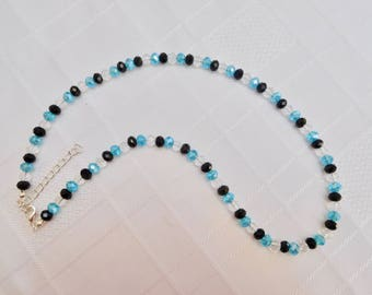 Blue, Black & Clear Crystal Beaded Necklace, Blue Necklace, Black Necklace, Crystal Jewellery, Beaded Jewellery, Sparkly, Gift For Her
