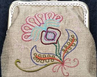 CP216.  Jacobean Floral design purse.