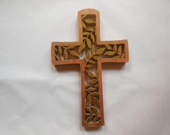 Wooden wall cross made of Hickory