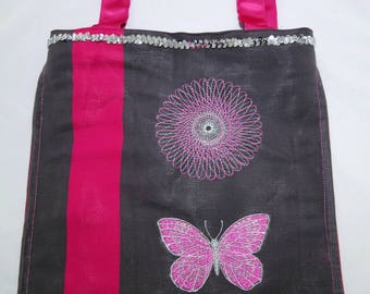 Tote Bag pink and gray