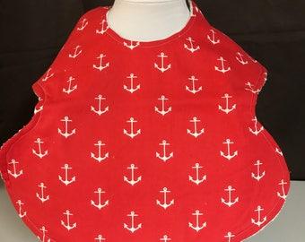 Red Anchor Toddler Bib / Smock