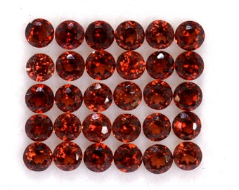 Faceted Certified Beautiful Natural Red Garnet Round Cut 3 mm  Wonderful Loose Gemstones for Making Jewelry