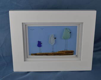 Bird scene seaglass art, 9in x 7in framed color seaglass, coastal decor, 3 birds, driftwood, beach house, coast, gift