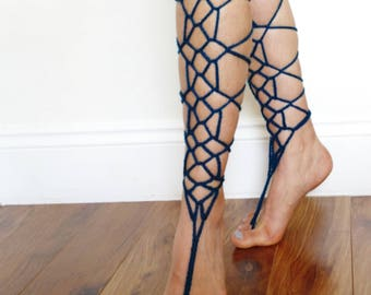 Crochet Pattern - Web Barefoot Sandals/ Boho Beach Knee High Wedding Sandals/ Laced Up Foot Jewelry/ Gladiator Straps Toe Thong Shoes