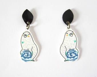 Sea lions earrings