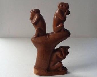 Vintage Carved Monkeys / See No Evil / Speak No Evil / Hear No Evil / Wise Monkey Carving / Free Shipping