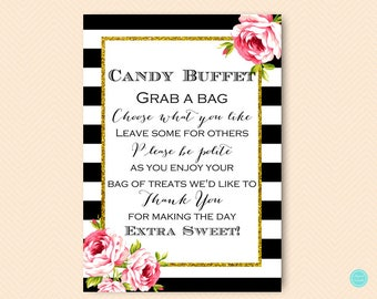 Black and Gold Candy Buffet Sign, Candy Bar Sign, Grab a treat sign, please take one Sign, Sweet Table, Shower Decoration sign, BS10 BS10B