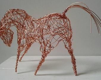Copper Horse. Unique and individual handmade wirework sculpture.