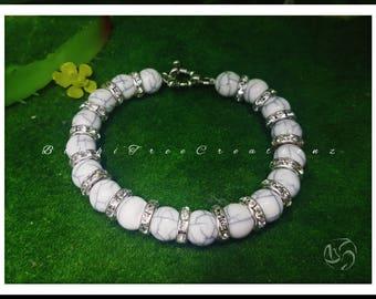 White turquoise howlite crystal rhinestone bracelet