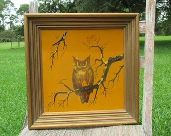 vintage 70's framed owl mixed media in gold, mustard, brown, black, retro owl art, owl wall art, seventies wall decor, owl painting, owl