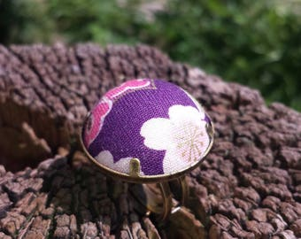 Ring fabric flowers (purple, pink, white)