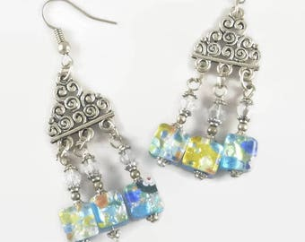Blue chandelier earrings with cubic multiflori Murano beads - Jewelry 123Pierres