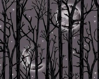 Halloween Fabric, Fright Night, Moonlit Trees with Metallic Threads on Grey Background, by Henry Glass, 1112M