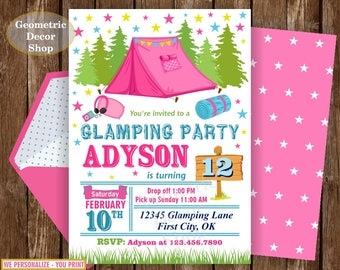 Camping Birthday Invitation, Girls Camping Invite, Glamping Invitation, Printable Invitation, Birthday Party Invite, teal pink green BDCamp6