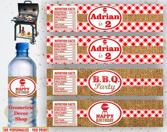 BBQ Water Bottle Labels Birthday Burlap Rustic Printable Barbeque Party barbecue Printable Red Plaid lumberjack juice wrappers milk WLBBQ1