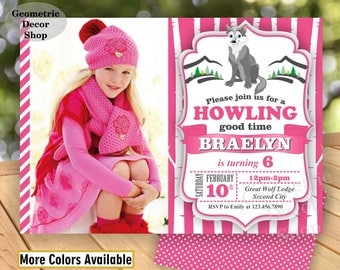 Lumberjack Birthday Party Invite First Birthday Wilderness Pink Lumber Jack Invitation Rustic Great Wolf Lodge buffalo Girl BDWDL14