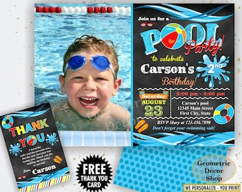 Pool / Party / Invitation / Pool / Bash / Birthday / Invite / Boy / Swimming / Water / Slide / Blue / Red / Chalkboard / Swim /BDP15/19