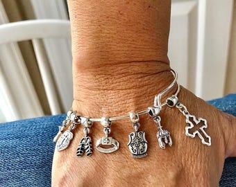 Armor of God Charm bracelet ...Helment, breastplate, shield, shoes, belt, sword