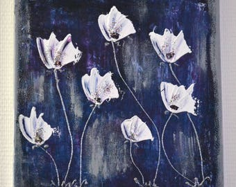 table modern poppies, blue, gray, white contemporary abstract painting, modern painting flowers