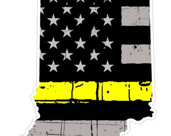 Indiana State (E15) Thin Yellow Line Dispatch Vinyl Decal Sticker Car/Truck Laptop/Netbook Window