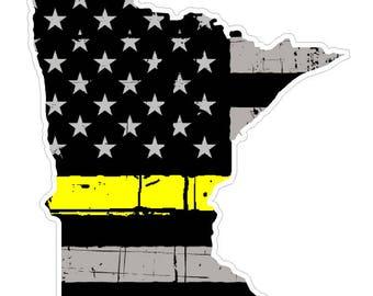 Minnesota State (E24) Thin Yellow Line Dispatch Vinyl Decal Sticker Car/Truck Laptop/Netbook Window