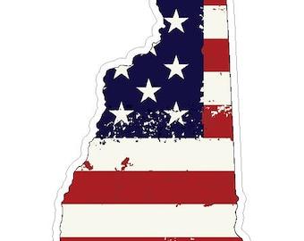 New Hampshire State (J30) USA Flag Distressed Vinyl Decal Sticker Car/Truck Laptop/Netbook Window