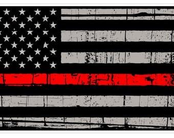American Flag (C55) Thin Red Line Vinyl Decal Sticker Distressed Car Laptop Window