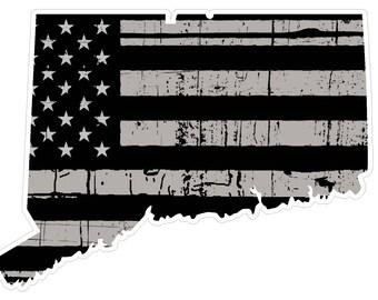 Connecticut State (N9) Distressed Flag Vinyl Decal Sticker Car/Truck Laptop/Netbook Window