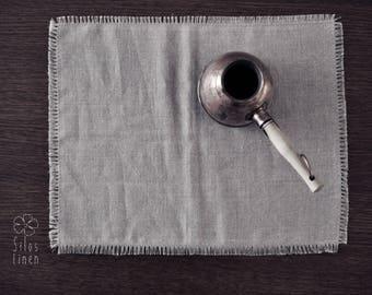 2 beige linen placemats/napkins