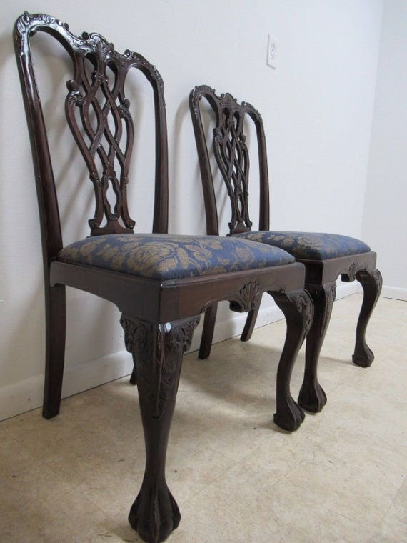 Pair Vintage Mahogany Reproduction Ball Claw Chippendale Dining Side Chairs D