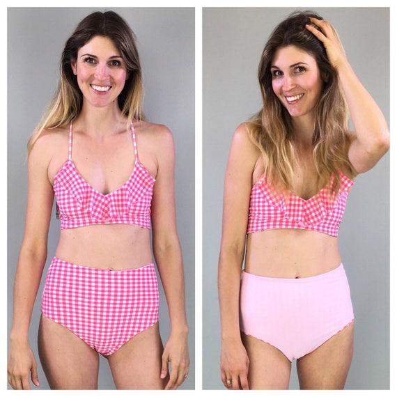 High waisted reversible bikini bottoms pink gingham to solid pink size medium