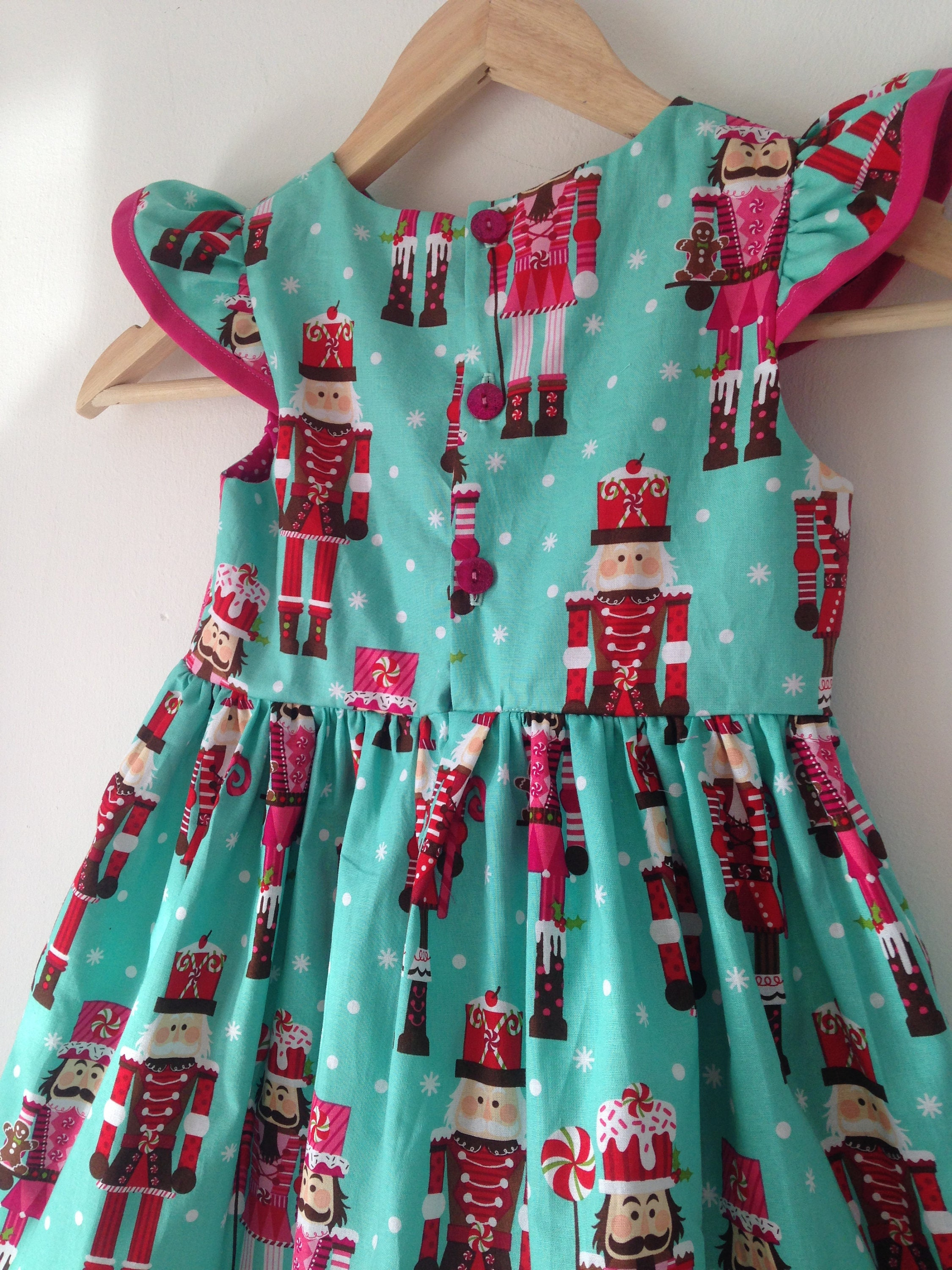 Nutcracker girls christmas dress baby girls flutter sleeves xmas