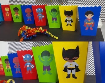 10 African American Superhero Themed Favor Boxes, Superhero Snack Boxes