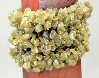 Labradorite Bunch Bracelet - Chip Bead Stretch Bracelets - Tumbled Crystal Beads (G3) Raw Gemstone Jewelry - Elastic Flex - Healing Stones