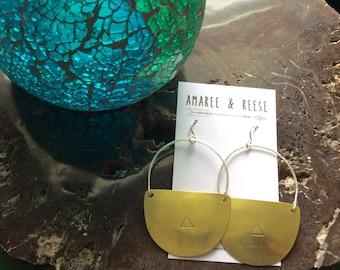 Brass Geometric Shield Hand-Stamped Triangle Earrings
