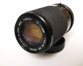 Vintage Exacta 70-210 mm f4,5-5,6 Zoom and Macro Lens for Pentax K-mount SLR Camera