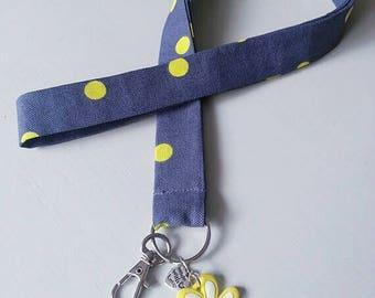 Yellow/dark grey polka dot lanyard for ladies/gentleman, 100% cotton