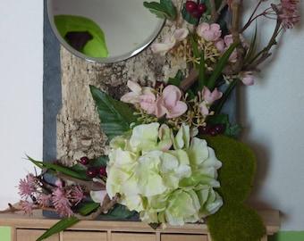 Mirror on Slate and rose tones birch bark