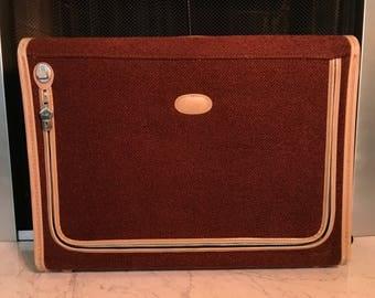 Vintage Suitcase Skyway Beautiful Rust Color Tweed Rolling Luggage - Large