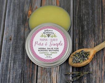 Organic Nursing Balm- Nipple Cream- Breastfeeding Relief- Nursing Salve- Sore nipples- Nipple Butter- Herbal Balm- New Mom- New Mom Gift
