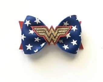 Wonder Woman Bow Leather Bow Clip or Headband Marvel