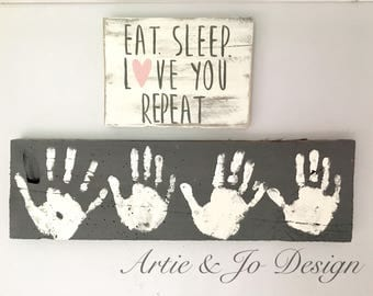 Distressed Shabby Chic Eat Sleep Love You Repeat Wood Pallet Sign Decor